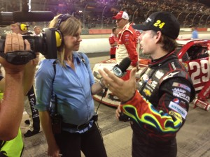25 weeks pregnant on pit road, interviewing Jeff Gordan