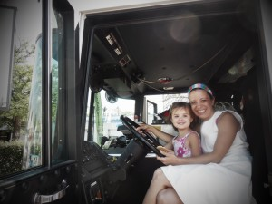 Driving a firetruck at the first Bloomfield Saturday Market